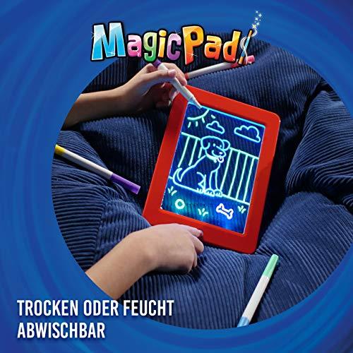 Mediashop Magic Pad – Zaubertafel mit 6 Neonfarben und 8 Leuchteffekten – Kreative Beschäftigung für Kinder, auch unterwegs – Maltafel mit 30 Schablonen, abwischbar – 2 STK. - 4