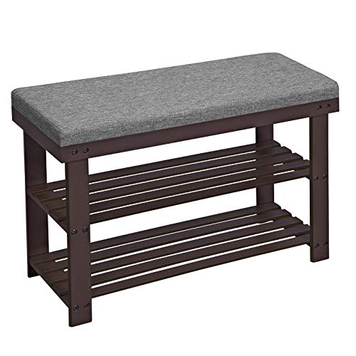 SONGMICS Bamboo Shoe Bench, 2-Tier Shoe Rack, Stable Shoe Organizer for Entryway, Living Room, Bench Seat Holds Up to 330 lb, 28 x 11.4 x 19.3 Inches, Brown and Gray ULBS604CG