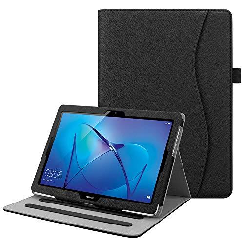 Fintie Hülle für Huawei Mediapad T3 10 - Multi-Winkel Betrachtung Kunstleder Schutzhülle mit Dokumentschlitze für Huawei T3 10 24,3 cm (9,6 Zoll) Tablet-PC, Schwarz