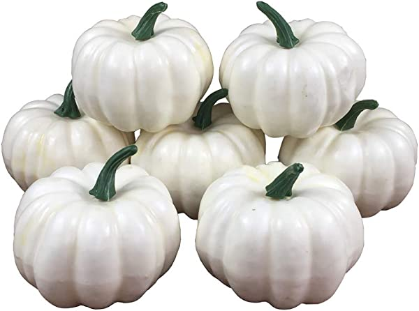 COTOSEY Lifelike Simulation Artificial Pumpkins 10 Pcs For Festive Wedding Halloween Party Home Decoration White