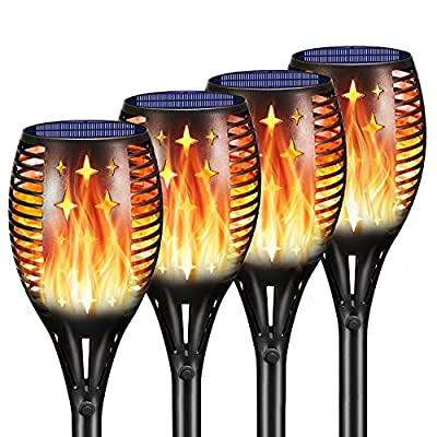 Ambaret Solar Torch Lights Upgraded, Flickering Flames Torches Lights Solar Outdoor Solar Flame Lights Decoration Lighting Dusk to Dawn Auto On/Off Torch Light for Yard Patio Garden (4 Pack)