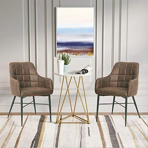 SHINAWOOD Esszimmerstühle 2er Set Retro Sessel PU Leder Esszimmer Stühle mit Metallbeine Küchenstühle Wohnzimmer Esszimmer Möbel Braun/Grau (Braun 2er Set)