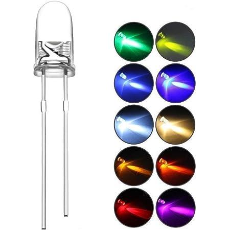 DiCUNO 発光ダイオード 3mm 10色 透明LEDセット 赤/青/白/橙/黄/緑/ピンク/紫/電球色/鶸色 各20個 透明 200個入