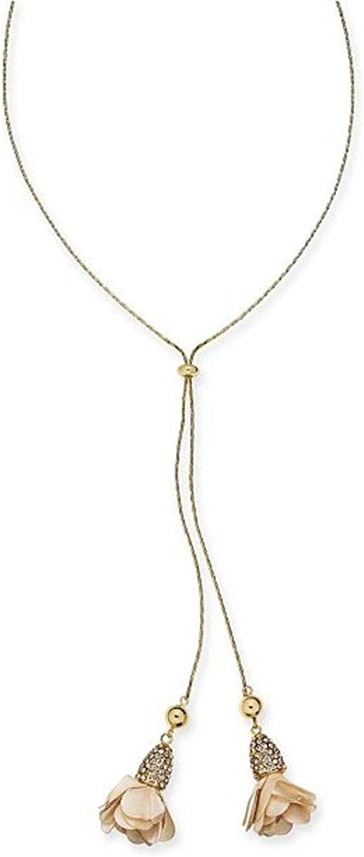INC Fabric Flower Drop Necklace (White)