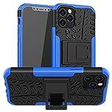 FANSONG Custodia per Nuovo iPhone 12 Max, iPhone 12 Pro 6.1' 2020, con Schermo Protezione [Pesante Dovere, Cavalletto] Corpo Pieno Robusta Ibrida Duro Antiurto Vetro Temperato Cover,Blu