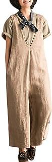 Romacci Vintage Women Cotton Wide Leg Jumpsuit Plus Size V Neck Sleeveless Side Pockets Romper Full Length Overalls