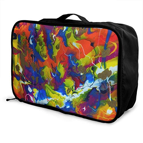 Koffertaschen Colorful Pigment Splash Like Rainbow Travel Lightweight Waterproof Foldable Storage Carry Luggage Duffle Tote Bag Large Capacity In Trolley Handle Bags Overnight Bag
