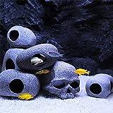 6 piezas de decoración de acuario cuevas de roca granito acuario adorno escondite peces para camarones serie realista aspecto piedra seguro para tanques de agua dulce y salada