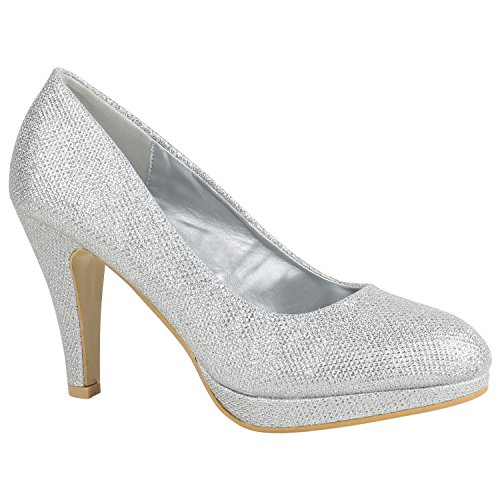 Damen Schuhe Pumps Plateau Pumps High Heels Lack Stiletto Elegante 156028 Silber Autol 39 Flandell