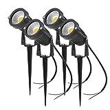 Lot de 4 Spot LED Cob 5W 220V Spots Jardin Orientables avec Piquet Luminaires Extérieur Jardin Terrasse