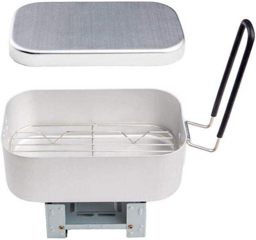 Olla arrocera de aluminio portátil, lonchera con rejilla humeante y estufa plegable, utensilios de cocina de combustible sólido livianos, juego de ...