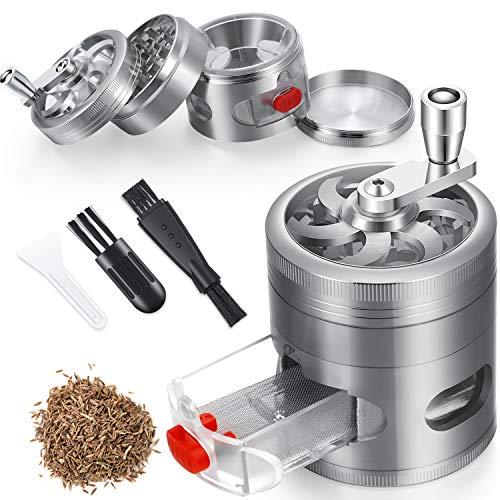 Kräutermühle, Gewürzmühle, Handkurbel, 6,3 cm, 4 Teile, Zinklegierung, Metall, Kräutermühle mit Schublade und Griff (Silber)
