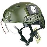ATAIRSOFT Casco militar estilo militar SWAT Combat BJ Base Jump Fast Casco con gafas protectoras OD verde para tiro CQB Airsoft Paintball