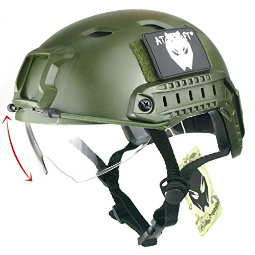 ATAIRSOFT Army Military Style SWAT Combat BJ Base Jump Fast Casco con occhiali protettivi verde OD per CQB Shooting Airsoft Paintball