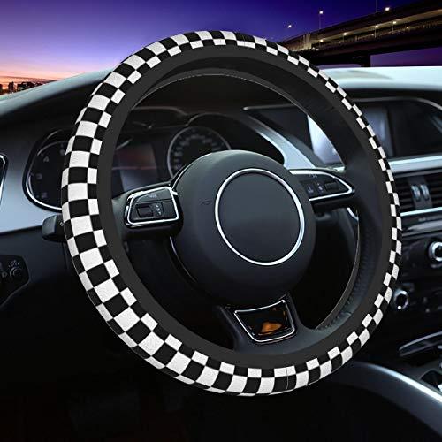 Da66jj Lenkradbezug für Auto, Schwarz Weiß Race Karierte Flagge Auto Lenkradhülle für Damen & Mädchen & Herren, Universal 15 Zoll Autozubehör