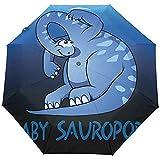 Wheatleya Paraguas de Viaje a Prueba de Viento y Lluvia Paraguas de Dinosaurio para bebé Saurópodos Paraguas Plegable portátil para Lluvia
