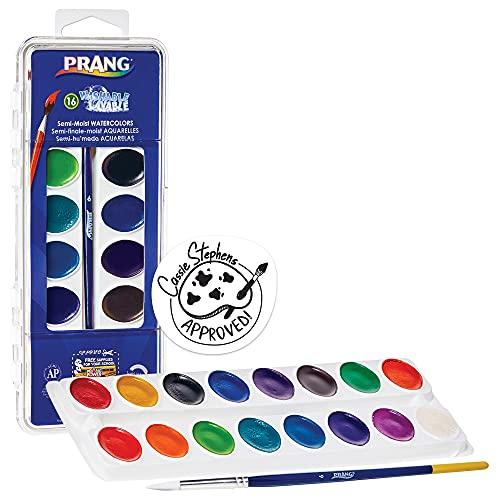 Prang Washable Watercolor Paint Set, 16 Assorted Colors, Includes Brush (16016), Classic Colors