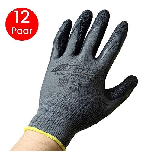 NITRAS Nylotex 3520 nylon latex handschoenen werkhandschoenen 12 paar, grijs/zwart, 7/M