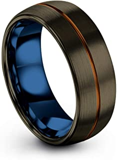 Tungsten Carbide Wedding Band Ring 8mm for Men Women Green Red Blue Purple Black Copper Fuchsia Teal Center Line Gunmetal Dome Brushed Polished