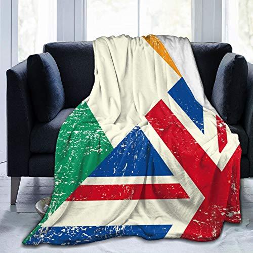 Olverz Manta de sherpa con bandera de Reino Unido e Irlanda y manta de sherpa, ligera, supersuave, acogedora manta de sofá de lujo para sofá, interior y exterior, 200 x 60 pulgadas