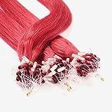 Hair2Heart 100 x 0.5g Extensiones de micro ring pelo natural - 50cm, color #rojo, liso
