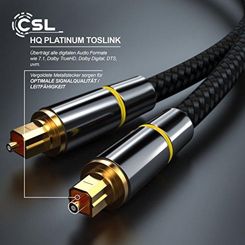CSL - 0,5m HQ Platinum Toslink optisch digital Kabel S PDIF Audio Kabel - Aluminium Stecker - vergoldete Kontakte - Nylonummantelt - LWL Lichtwellenleiter - Home Entertainment HiFi TV