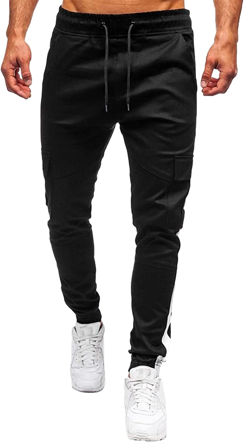 SAMACHICA Men's Casual Cargo Pants Jogger Slim Fit Fashion Work Hip Hop Drawstring Athletic Pants with Pockets