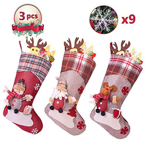 SHOLOV Chaussettes de Noël, Sac à Bonbons avec Père Noël Suspendue 46 * 22cm Mignon Cartoon Classique Grande Taille Cadeau Décoration de Noël pour Bonbon Biscuit Chocolat + 9pcs Flocon de Neige