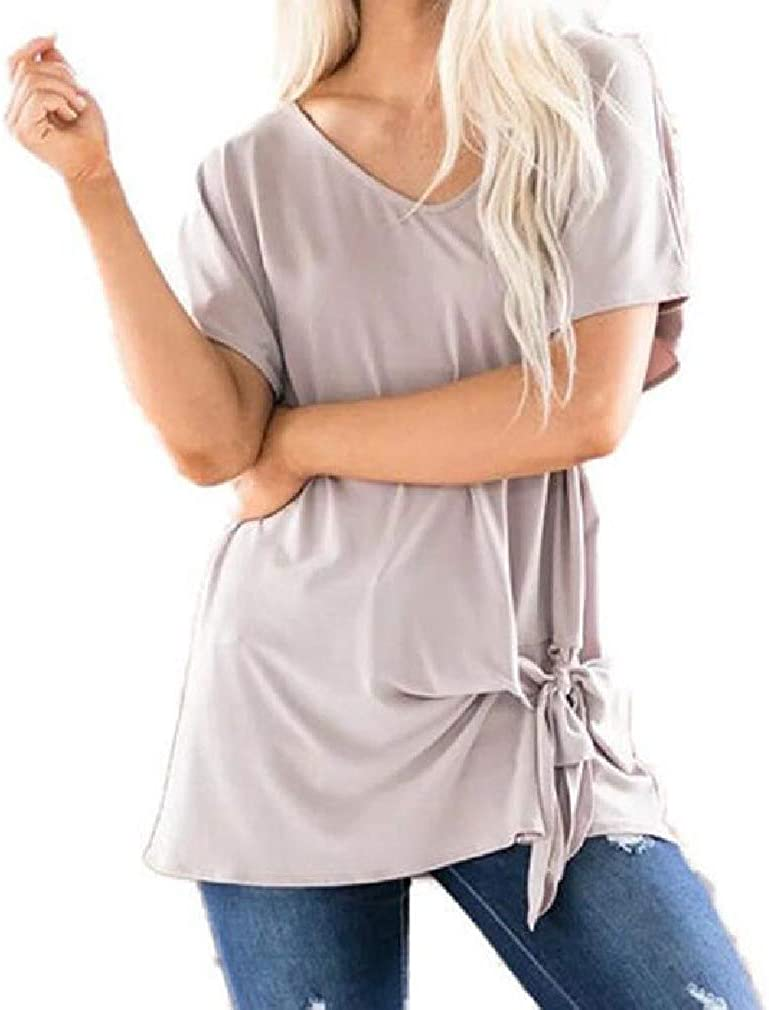 S-Fly Women Plus Size Loose Fit Short Sleeve Solid Color Knot Twist Front T Shirts