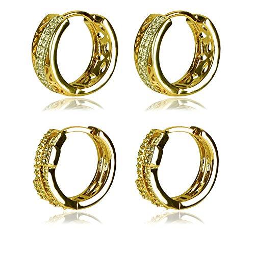 Yumay Yellow Gold Hoop Earrings with Prong Setting 5A Cubic Zirconia for Women Girls