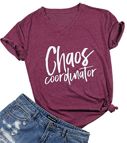 Women Chaos Coordinator Tshirt Cute Funny Letter Print V Neck Shirt Top Size US Size S (Wine Red)