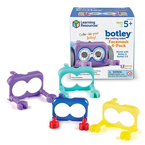 Learning Resources Botley The Coding Robot Facemask 4-Pack, Reusable Washable Mask, Unisex, Ages 5+
