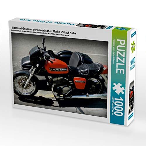 CALVENDO Puzzle Motorrad-Gespann der sowjetischen Marke IZH auf Kuba 1000 Teile Lege-Größe 64 x 48 cm Foto-Puzzle Bild von Henning von Loewis of Menar