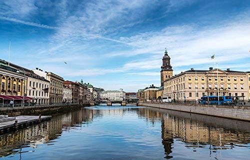 Pussel 1 000 bitar för vuxna: Svåra hårda pussel för kvinnor män Sverige hus flodbroar Göteborg pussel premium träskiva exakt sammankoppling (75 x 50 cm)