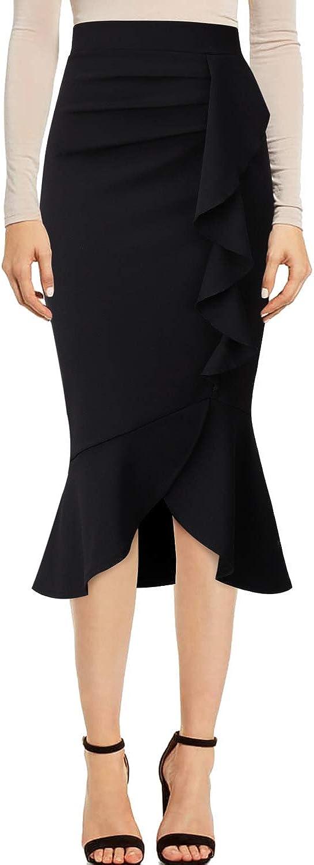 VFSHOW Womens Ruched Ruffle High Waist Work Business Mermaid Midi Pencil Skirt