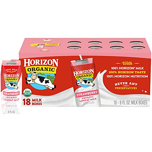 Horizon Organic, Lowfat Organic Milk Box, Strawberry, 8 Fl. Oz (Pack of 18), Single Serve, Shelf Stable Organic Strawberry Flavored Lowfat Milk, Great for School Lunch Boxes, Snacks