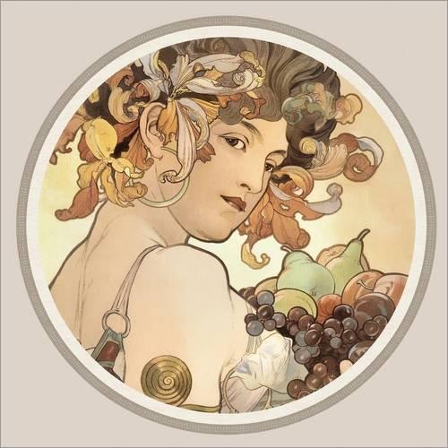 Posterlounge Acrylglasbild 40 x 40 cm: Früchte, Detail von Alfons Mucha - Wandbild, Acryl Glasbild, Druck auf Acryl Glas Bild