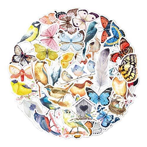 AllRing 40 Stück Aquarell Schmetterling Aufkleber und Decals, Cartoon wasserdicht Vinyl wasserdichte Aufkleber für Wasserflaschen, Laptops und Gepäck