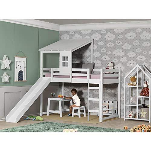 Cama Infantil com Escorregador Prime Alta II e Telhado II - Casatema