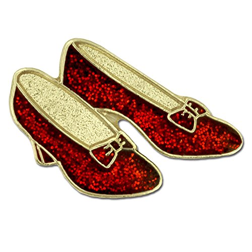 PinMart Glitter Red Dance Shoes Ruby Slippers Enamel Lapel Pin