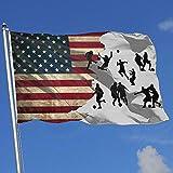 Elaine-Shop Banderas al Aire Libre Bandera de EE. UU. Bandera de Jugador de fútbol Silueta 4 * 6 pies Bandera para decoración del hogar Fanático de los Deportes Fútbol Baloncesto Béisbol Hockey