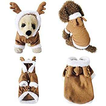 Mogoko Dog Cat Christmas Reindeer Costume Funny Pet Elk Cosplay Dress Puppy Fleece Outfits Warm Hoodie Xmas Apparel Clothes  M Size