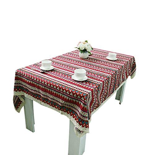 NiSeng Nappes Coton Lin Imprimé Nappe de Table rectangulaire d carrée Nappe Decorative Anti-tâche Différentes Tailles Rouge 100x140 cm