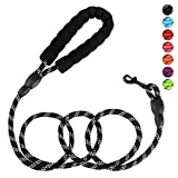 Petmegoo 5ft 1/3in Light Weight Strong Black Dog Leash for Small Dogs & XSmall Dogs- Highly Reflective Durable Rope Puppy Leash with Soft Padded Anti-Slip Handle for Casual Walk(0~18lbs.)