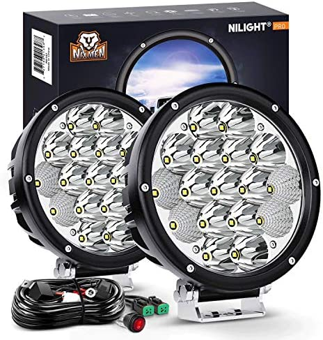 Nilight 2PCS 7Inch 85W LED Driving Light 10200LM IP68 Spot Flood Combo Round Built in EMC Offroad product image