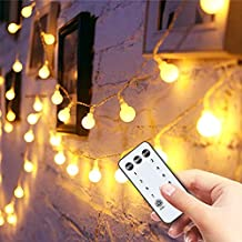 Globe String Lights 49ft 100 Led with Remote Timer,Indoor String Lights for Bedroom Wall Patio Party Home Wedding, Extendable Outdoor Garden Yard Decorative.