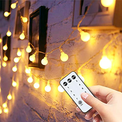 Y YUEGANG 59FT 100 LED Fairy Globe String Lights with Remote Timer, Extendable Premium Waterproof Starry Lights Warm White, Decoration for Indoor Outdoor Party Wedding Christmas Tree Garden