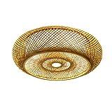 40cm Lámpara colgante Vintage E27 Luces colgantes Lámpara colgante de bambú natural Lámpara colgante de ratán tejido Retro Ajustable en altura Restaurante Salón de té Cafe Pantalla Lámpara de araña