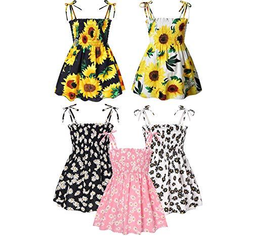 Realdo Toddler Baby Girl Dresses Summer Dress Outfits Casual Sleeveless Strap Cute Floral Princess Sundress Kids Beachwear