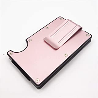 RFID Blocking Metal Wallet Slim Minimalist Credit Card Holder Money Clip - Pink